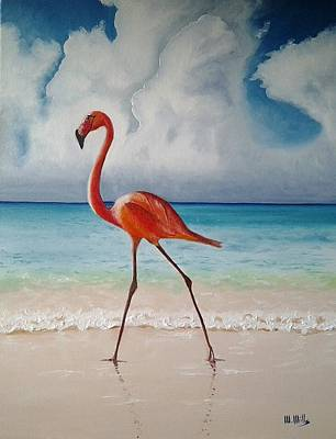 Painting - Flamingo Walk by Maria Mills