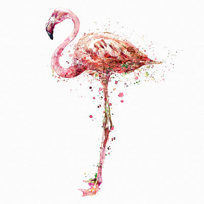 Flamingo Watercolor Painting Print by Marian Voicu