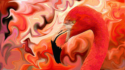 Digital Art - Flamingoed An Abstract In Pink by Shelli Fitzpatrick