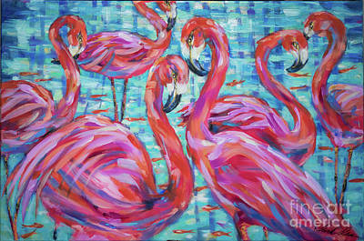Painting - Flamingoes And Goldfish by Linda Olsen