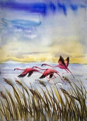 Flamingoes Flight Art Print