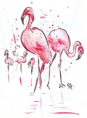 Painting - Flamingoes by Remy Francis