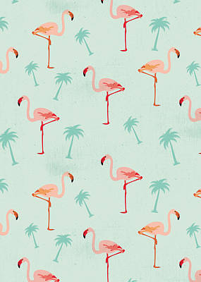Flamingo Drawing - Flamingos And Palm Trees by Vitor Costa