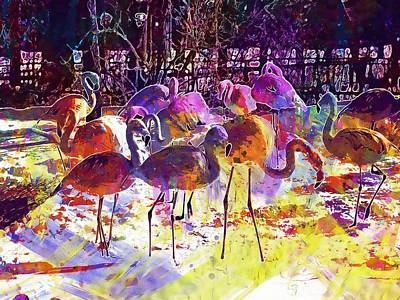 Digital Art - Flamingos Birds Zoo  by PixBreak Art