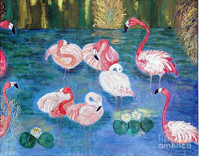 Painting - Flamingos Diptich Right by Vicky Tarcau