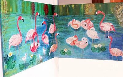 Painting - Flamingos Diptich Corner by Vicky Tarcau