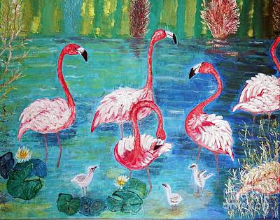 Painting - Flamingos Diptich Left by Vicky Tarcau