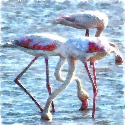 Painting - Flamingos Eating Watercolor by Tracey Harrington-Simpson