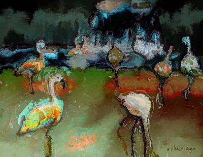 Flamingos Digital Art - Flamingos Gathering by Arline Wagner