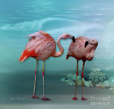 Chatting Mixed Media - Flamingos Gossip by Linda Troski