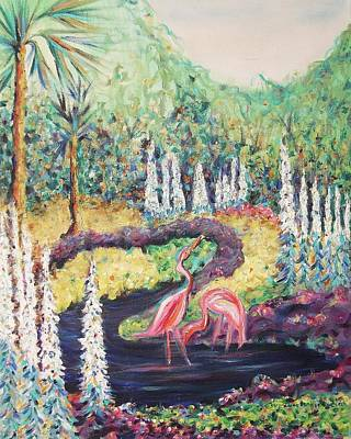 Flamingo's In Florida Art Print by Suzanne  Marie Leclair
