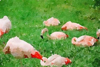 Painting - Flamingos In Grass by Leah Lambart
