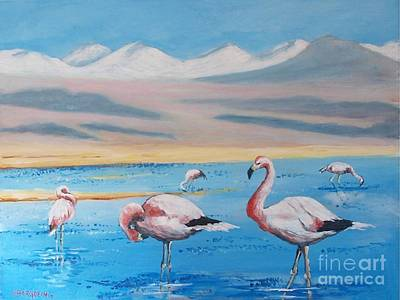 Painting - Flamingos by Jean Pierre Bergoeing