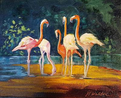 Painting - Flamingos by Judy Fischer Walton