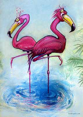 Painting - Flamingos by Kevin Middleton