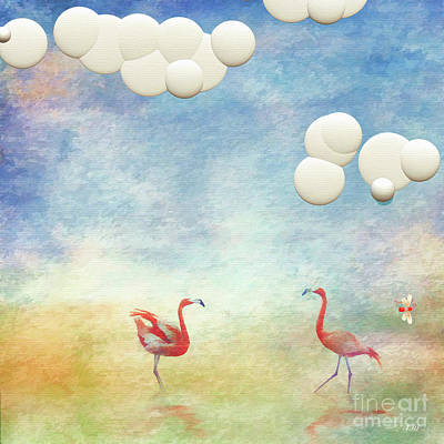 Tangerine Painting - Flamingos by L Wright
