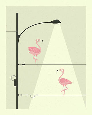 Art For Kids Digital Art - Flamingos On A Wire by Jazzberry Blue