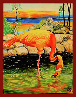 Drawing - Flamingo's Paradise by Cheryl Poland