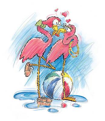 Flamingos Drawing - Flamingos by Todd Baxter