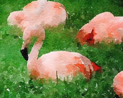 Painting - Flamingos Watercolor by Leah Lambart