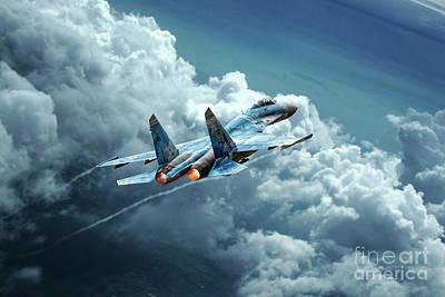 Sukhoi Digital Art - Flanker Burner by J Biggadike