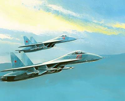 Soviet Union Painting - Flankers In Formation by Mountain Dreams