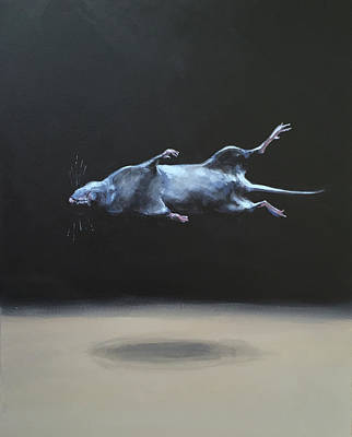 Abducted Painting - Floating Field Mouse by Jeffrey Bess