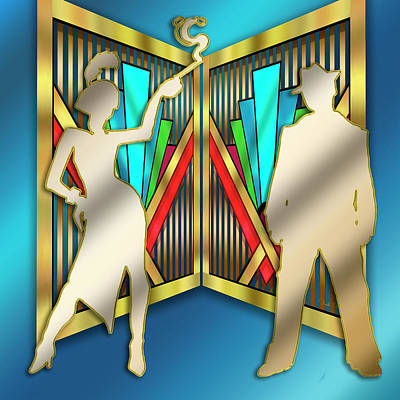 Digital Art - Flapper And Gangsta Art Deco by Chuck Staley