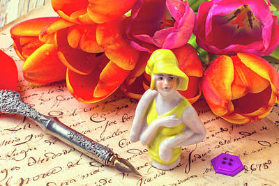 Doll Photograph - Flapper Doll And Tulips by Garry Gay
