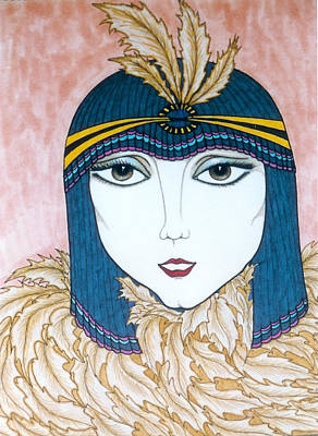 Greeting Card - Flapper Girl 2 by Rae Chichilnitsky