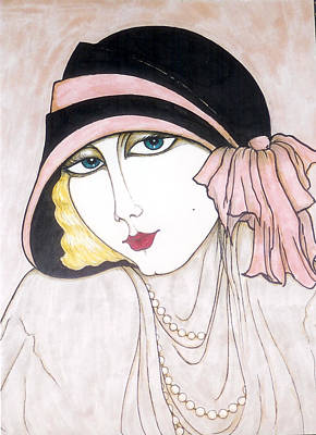 Greeting Card - Flapper Girl 3 by Rae Chichilnitsky