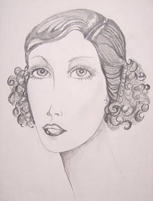 Art Print featuring the drawing Flapper Girl by Leslie Manley