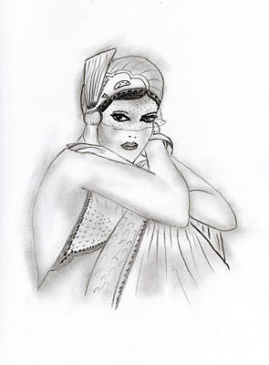 Drawing - Flapper Girl by Sonya Chalmers