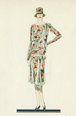 Fashion Design Painting - Flapper In An Afternoon Dress by American School