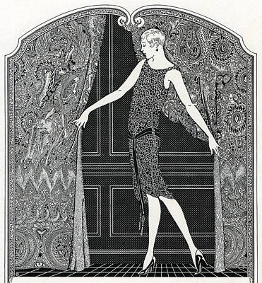 Pen And Ink Drawing Drawing - Flapper Opening A Curtain by American School