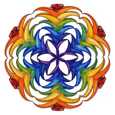 Chakra Rainbow Painting - Flare by Maureen Frank The Mandala Lady