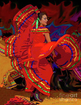 Mexican Dance Digital Art - Flaring Folklorica by Kimberley Joy Ferren
