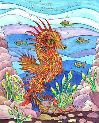 Painting - Flashy Swimmer And Fishes by Adria Trail