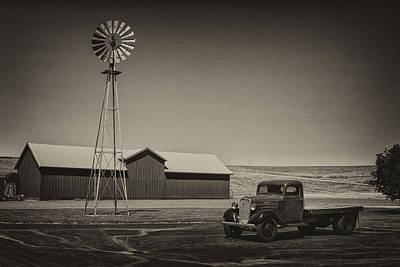 Photograph - Flat Bed Chevrolet Truck And Windmill Dsc05140 by Greg Kluempers