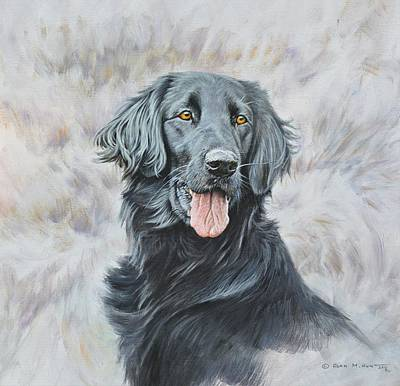 Art Print featuring the painting Flat Coated Retriever Portrait by Alan M Hunt