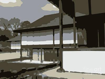 Katsura Wall Art - Digital Art - Flat Design Drawing The Traditional Architecture At Katsura Imp by Eiko Tsuchiya