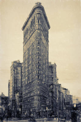 Flat Iron Building Full North Side - Sketch Art Print