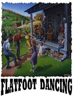 Kentucky Painting - Flatfoot Dancing - Mountain Dancing - Flatfoot Dancing by Walt Curlee
