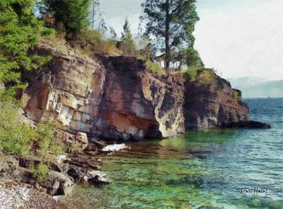 Rock Painting - Flathead Lake - Shores Edge by Russ Harris