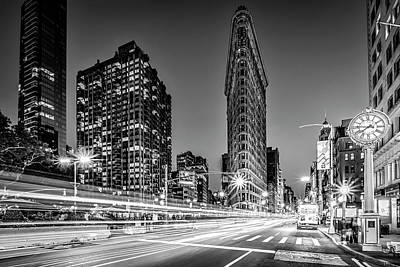 Photograph - Flatiron 5th Ave Clock Nyc Bw by Susan Candelario
