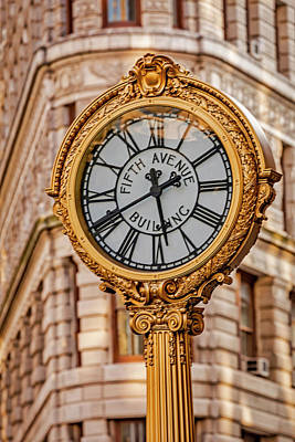 Photograph - Flatiron And Fifth Ave Clock Nyc  by Susan Candelario