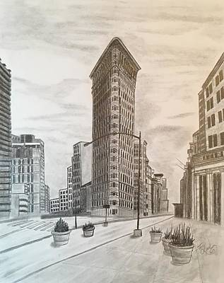Drawing - Flatiron Study by Tony Clark