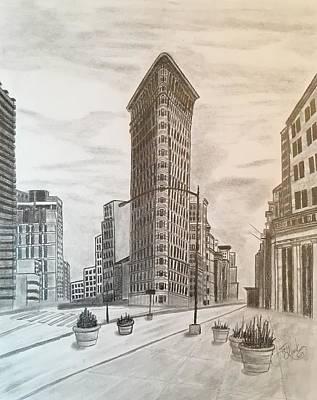 Cityscape.pencil Drawing - Flatiron Study by Tony Clark