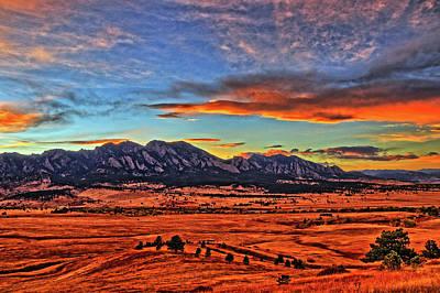 Art Print featuring the photograph Flatiron Sunset Fire Red by Scott Mahon
