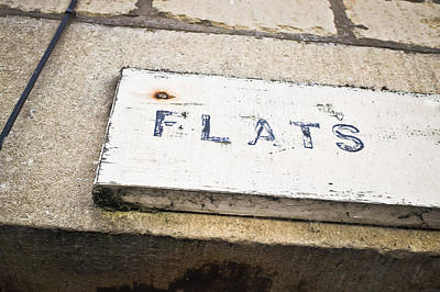 Brick Buildings Photograph - Flats Sign by Tom Gowanlock